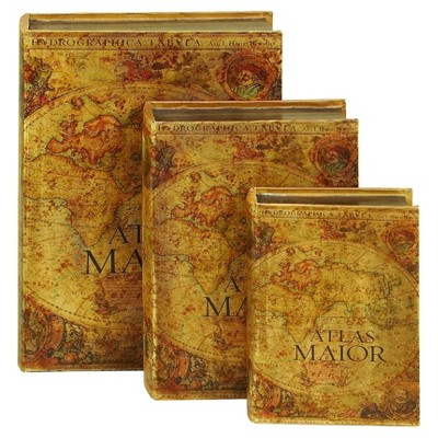 """Vintage Reflections Rustic Wood-Style MDF and Synthetic Leather """"Atlas Maior"""" Book Box Set 3ct - Olivia & May"""