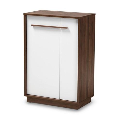 Mette Walnut Finished Wood Shoe Cabinet White - Baxton Studio - image 1 of 9