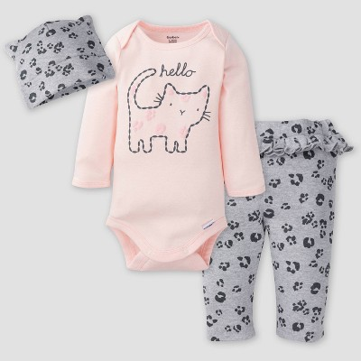 Gerber Baby Girls' 3pc Leopard Top and Bottom Set - Pink/Gray