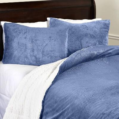 Lakeside Luxury Plush Reversible Blue Comforter Set
