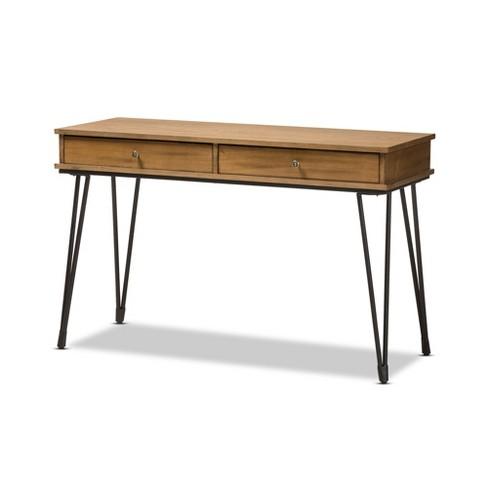 Toma Rustic Metal And Distressed Wood 2 Drawer Storage Desk Brown Baxton Studio