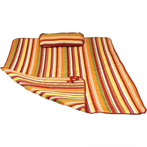 Polyester Quilted Hammock Pad and Pillow - Tropical Orange Stripe - Sunnydaze Decor - image 1 of 4