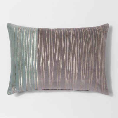 Gray & Gold Stripe Metallic Lumbar Throw Pillow - Project 62™