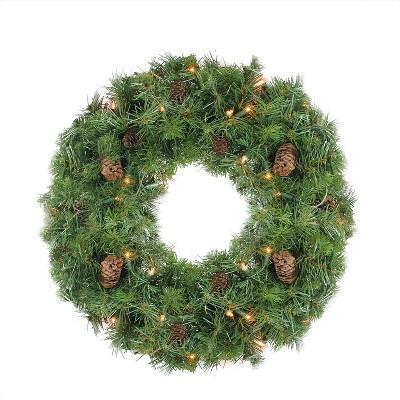 "Northlight 24"" Prelit Dakota Red Pine Artificial Christmas Wreath - Clear Lights"