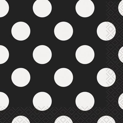 16ct Black & White Polka Dot Lunch Napkin