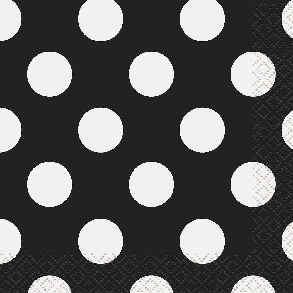 16ct Black & White Polka Dot Lunch Napkin Cheap