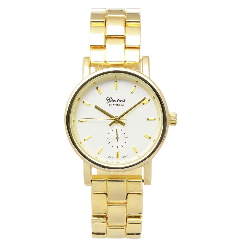 Women's Geneva Platinum Round Face Link Bracelet Watch - Gold/White