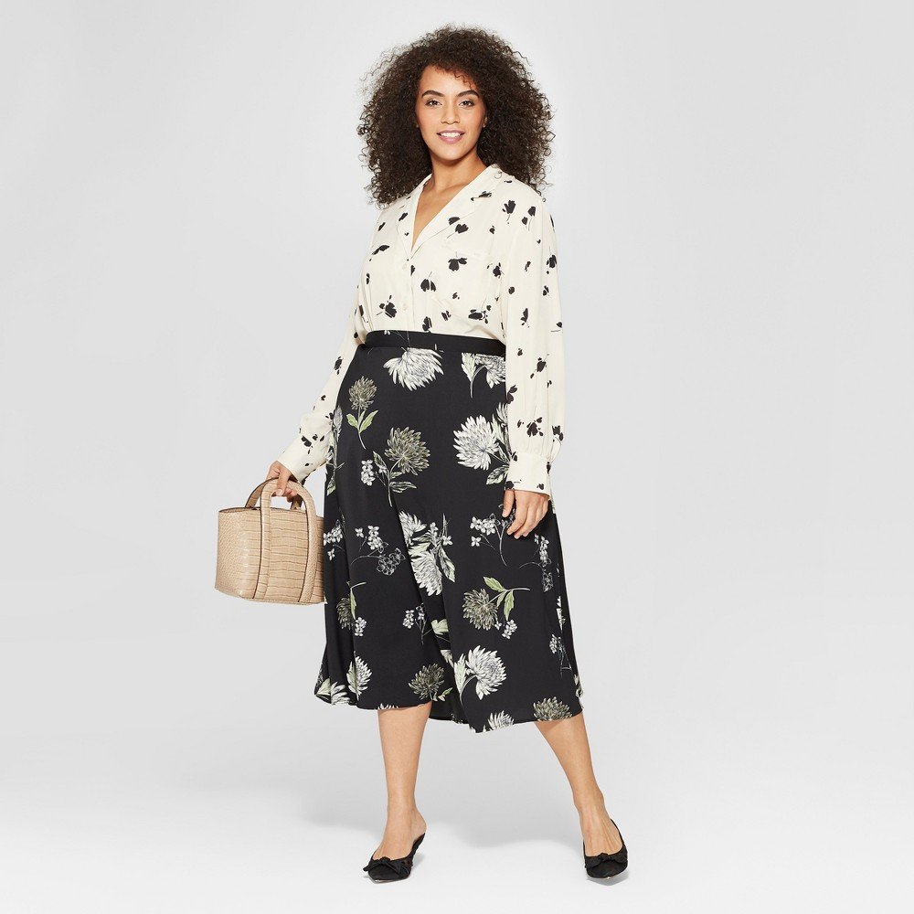 Women's Plus Size Floral Long Sleeve V-Neck Button-Up Blouse - Who What Wear Cream (Ivory) 2X