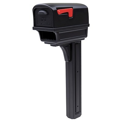 Gibraltar Gentry All-in-One Plastic Mailbox and Post Combo - Black