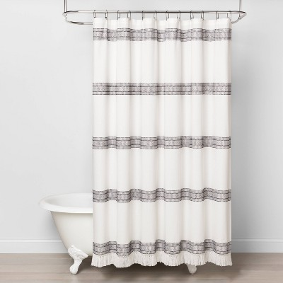 Textured Dobby Stripe Shower Curtain Gray - Hearth & Hand™ with Magnolia