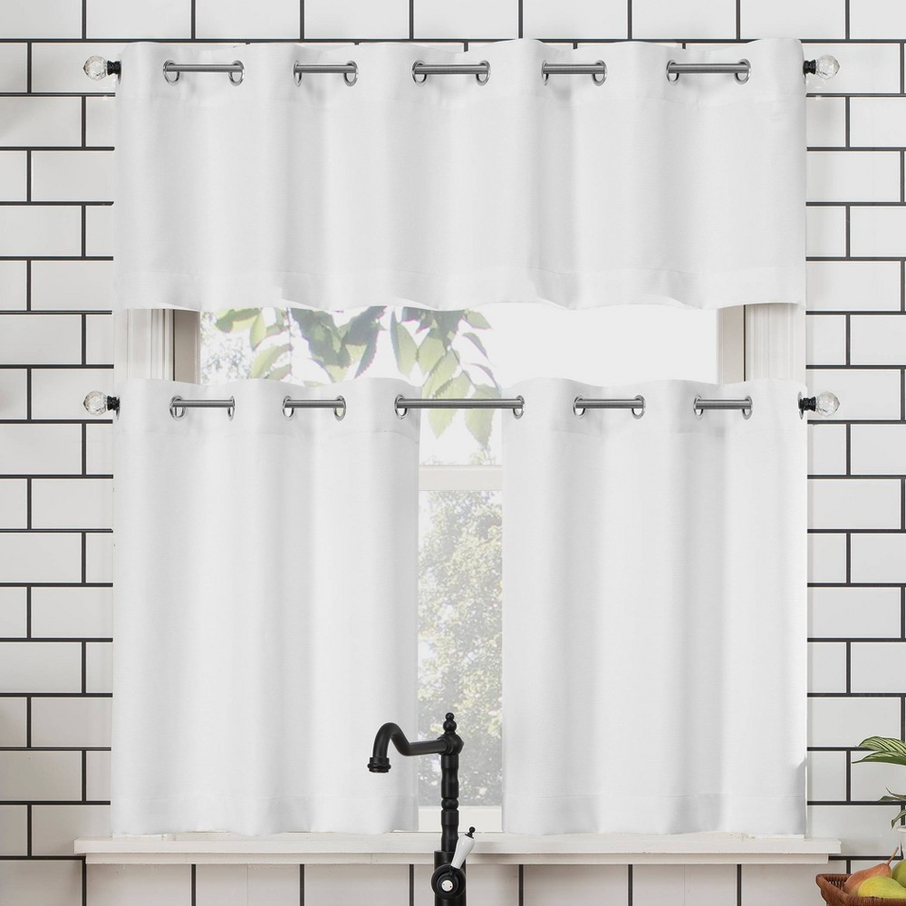"Image of ""24""""x54"""" Dylan Casual Textured Semi-Sheer Grommet Kitchen Curtain Valance and Tiers Set White - No. 918"""