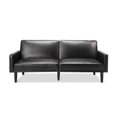 Faux Leather Futon with Arms - Black - Room Essentials™