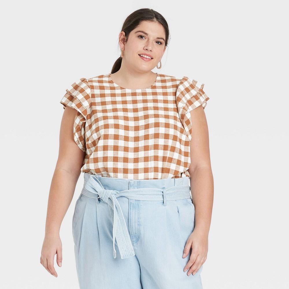 Women 39 S Plus Size Gingham Checks Ruffle Short Sleeve Linen Top A New Day 8482 Brown 2x