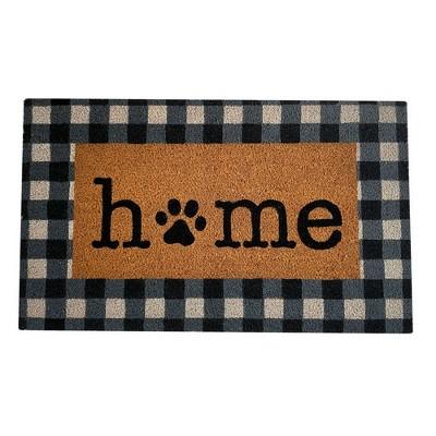 "Farmhouse Living Paw Print Home Pet Buffalo Check Coir Doormat - 18"" x 30"" - Natural - Elrene Home Fashions"