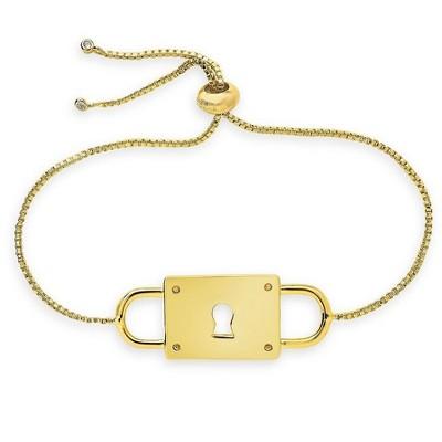 SHINE by Sterling Forever Adjustable Double Padlock Bolo Bracelet