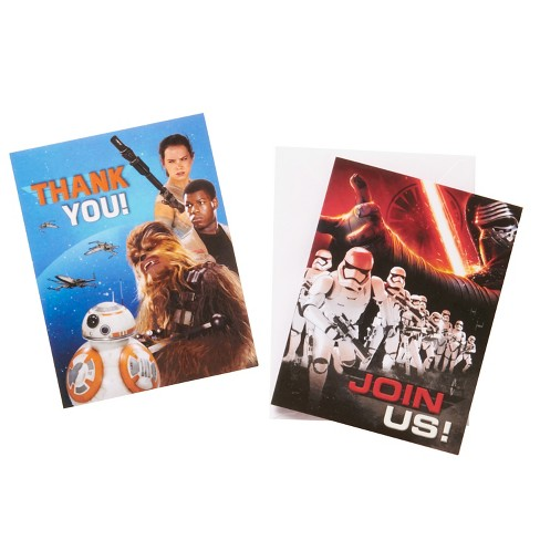 16 Ct Star Wars Episode VII Invitation And Thank You Card Pack Target