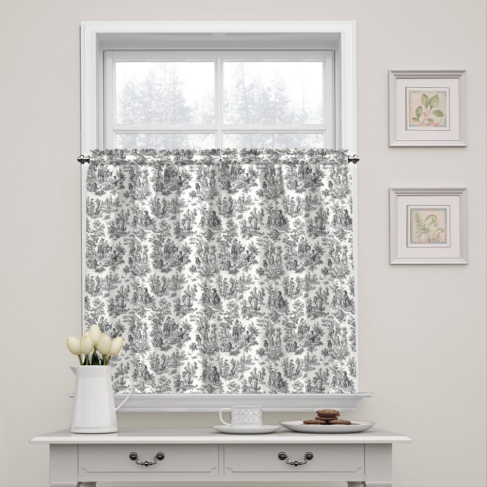 """Image of """"36""""""""x52"""""""" Charmed Life Floral Window Tier Pair Gray - Waverly"""""""