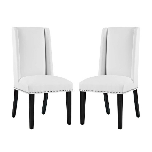 Baron Dining Chair Vinyl Set of 2 White - Modway - image 1 of 6