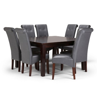 Cosmopolitan 9pc Dining Set In Stone Grey Faux Leather