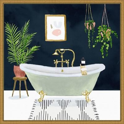 """16"""" x 16"""" Boho Bath I by Victoria Borges Framed Canvas Wall Art - Amanti Art"""