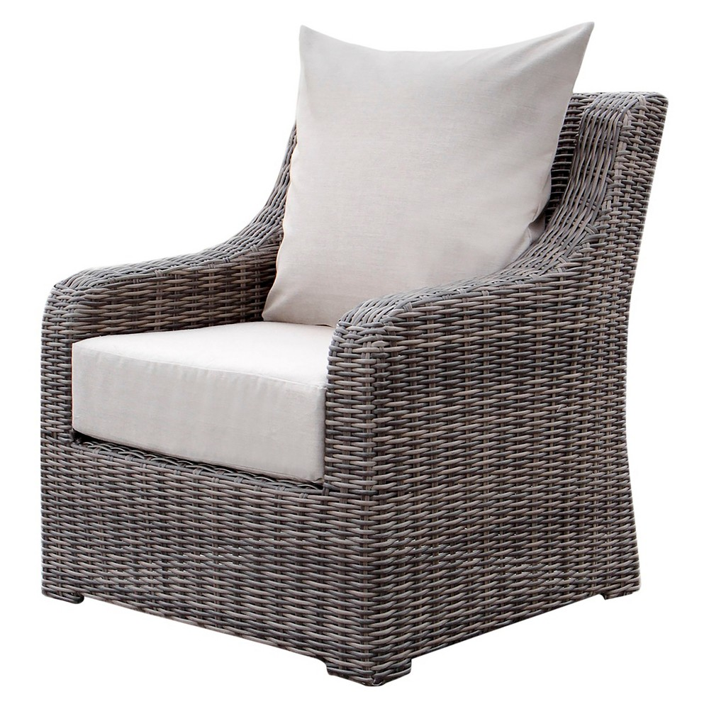 Cherry Hill 1pc Resin Wicker Deep Seating Chair with Sunbrella Fabric Cast Ash - AE Outdoor, Gray