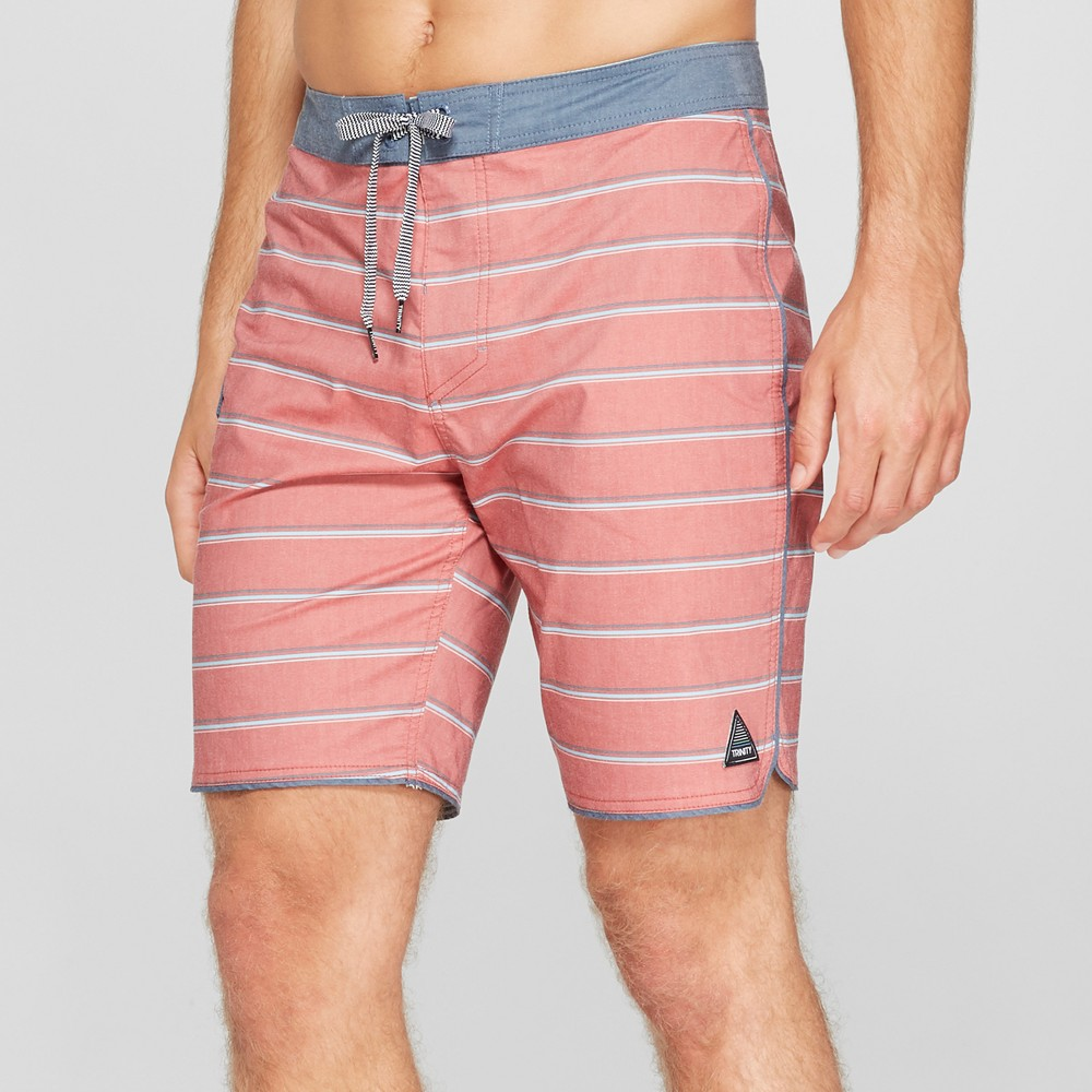 Trinity Collective Men's Striped 8.5 Stacey Board Shorts - Red 28