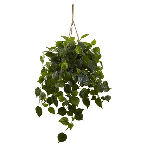 Nearly Natural Philodendron Hanging Basket UV Resistant (Indoor/Outdoor) - image 1 of 1