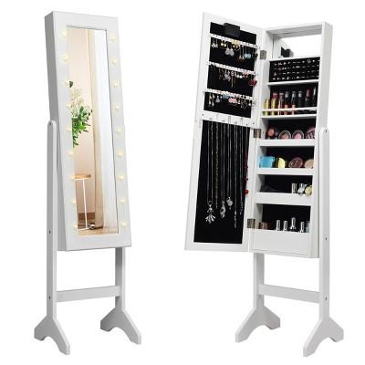 Costway Mirrored Jewelry Cabinet, Mirror With Jewelry Storage Target