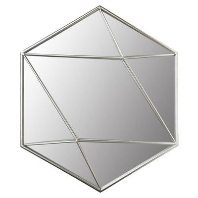 24  Metal Hexagon Wall Accent Mirror Silver - Patton Wall Decor