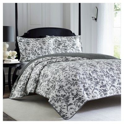 Amberley Quilt And Sham Set King Black & White - Laura Ashley™