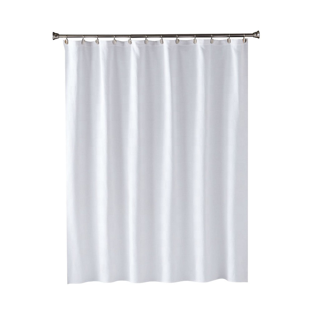 Large Basketweave Shower Curtain White - Saturday Knight Ltd.