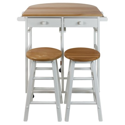 Breakfast Cart with Drop Leaf Table & Stool Set - White - Flora Home