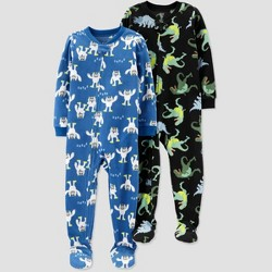 Toddler Boys' 2pk Dino & Monster Fleece Footed Pajama - Just One You® made by carter's Black/Blue