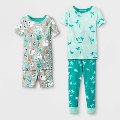Toddler Boys' 4pc Tropical Pirate Ship Pajama Set - Cat & Jack™ Aqua