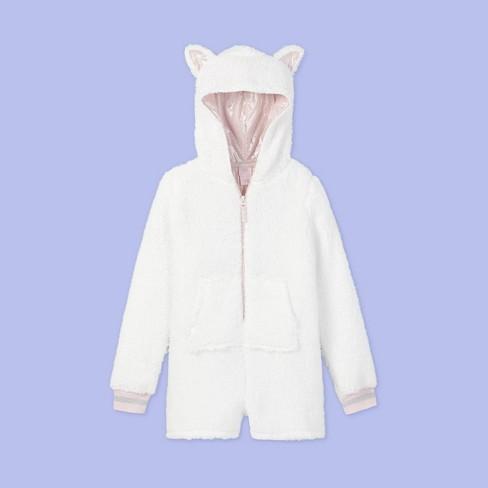 Girls' Cat Print Pajama Romper - More Than Magic™ White - image 1 of 2