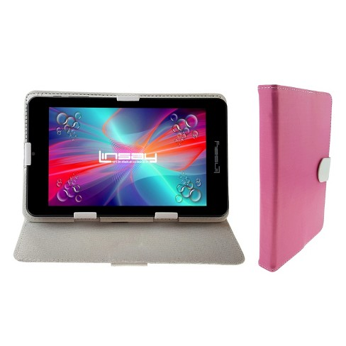"""LINSAY 7"""" Quad Core Tablet with Case - Pink/White 16GB - image 1 of 3"""