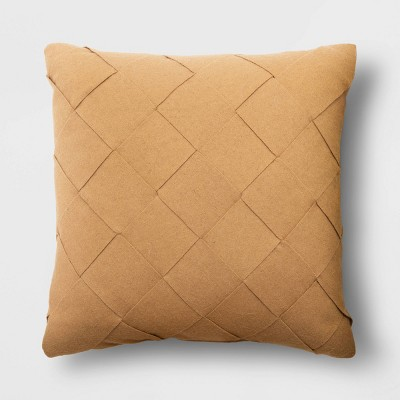 Square Basket Weave Throw Pillow Tan - Project 62™
