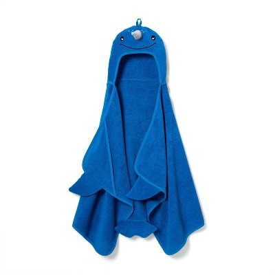 Narwhal Hooded Towel Blue - Pillowfort™