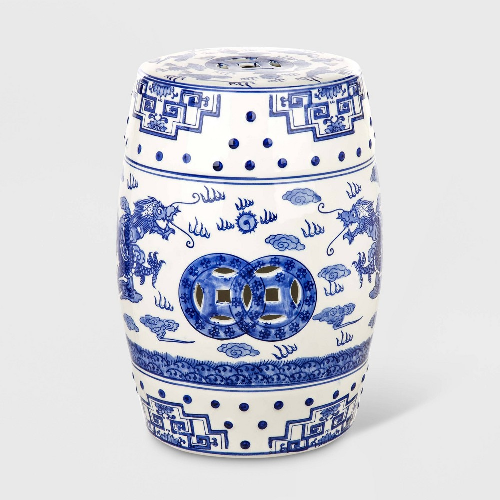 Adorned with a luxurious interpretation of a legendary chinoiserie pattern, this ceramic garden stool is a timeless investment. Ideal for extra seating or a glass of wine, its stately pairing of white and blue lend any outdoor room an aristocratic edge. Gender: unisex.
