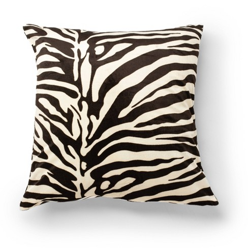 2pk 20 X20 Printed Velvet Zebra Decorative Throw Pillow Brown Natural Surefit Target