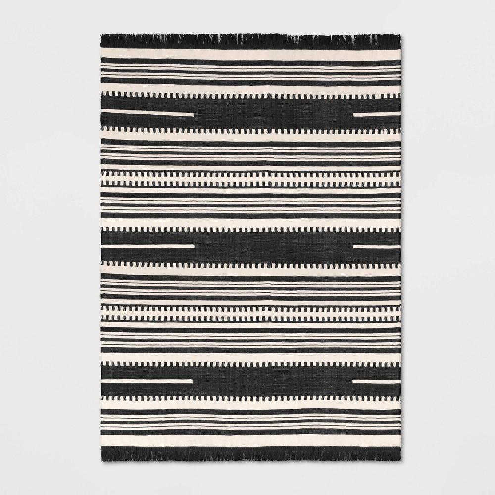 7'X10' Stripe Woven Area Rug Black - Opalhouse