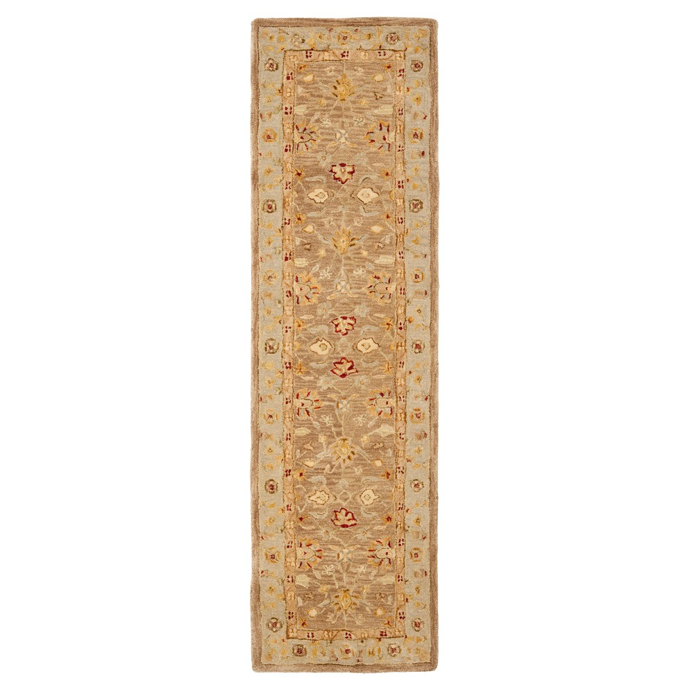 Tan/Ivory Floral Tufted Runner 2'3X8' - Safavieh