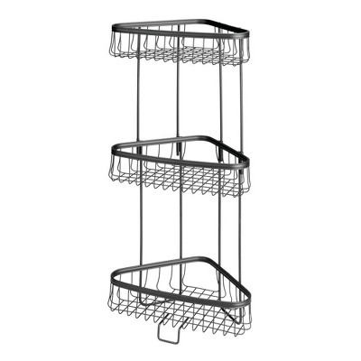 mDesign Metal Bathroom Vertical Corner Storage Shelf Unit