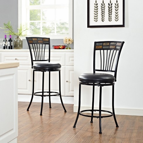 Templeton Swivel Counter Stool Black Gold with Black Cushion - Crosley® - image 1 of 10