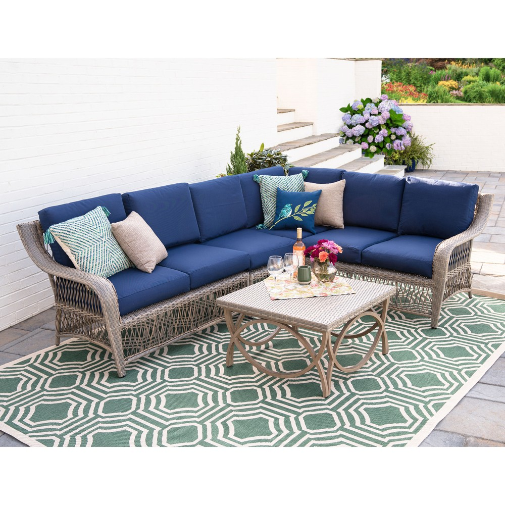 5pc Birmingham All-Weather Wicker Corner Sectional Navy (Blue) - Leisure Made