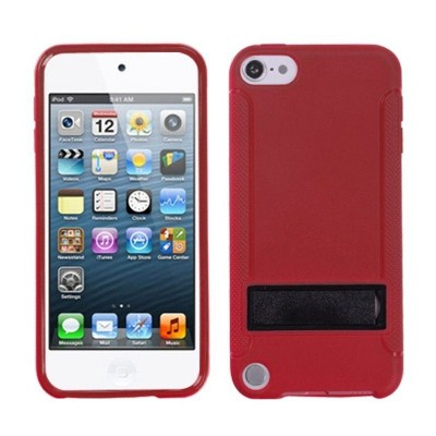 MYBAT For Apple iPod Touch 5th Gen/6th Gen Red Black Hard TPU Plastic Case w/stand