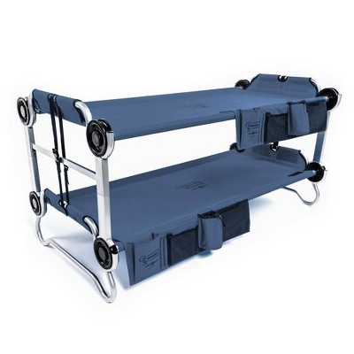 Disc-O-Bed Youth Kid-O-Bunk 62 x 28 Inch Portable Folding Bunked Double Camping Cot Bed with 2 Organizers and 2 Carry Bags, Navy Blue