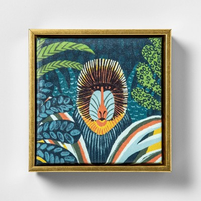 6.25 x7.5  Baboon Mandrill Printed Framed Wall Canvas - Opalhouse™