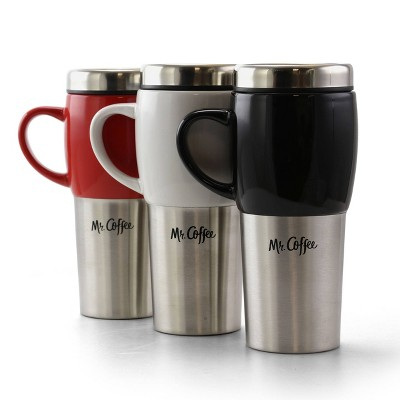 Mr. Coffee 16oz 3pk Stainless Steel Traverse Travel Mugs with Lids