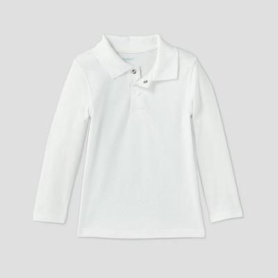 Toddler Boys' Adaptive Long Sleeve Polo Shirt - Cat & Jack™ White